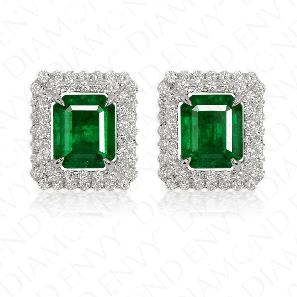 4.49 Carat Natural Emerald and Diamond Stud Earrings in 18K White Gold