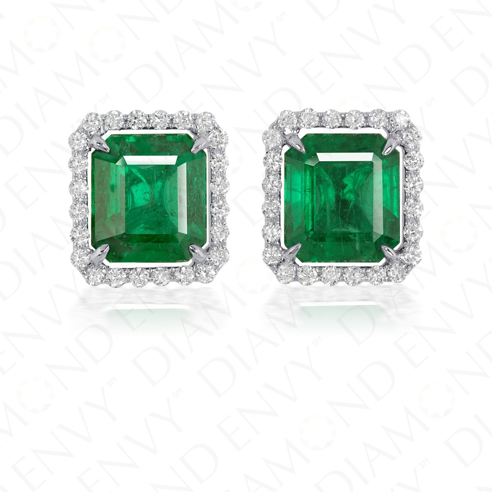 yellow diamonds emerald created gold green with stud in white earrings