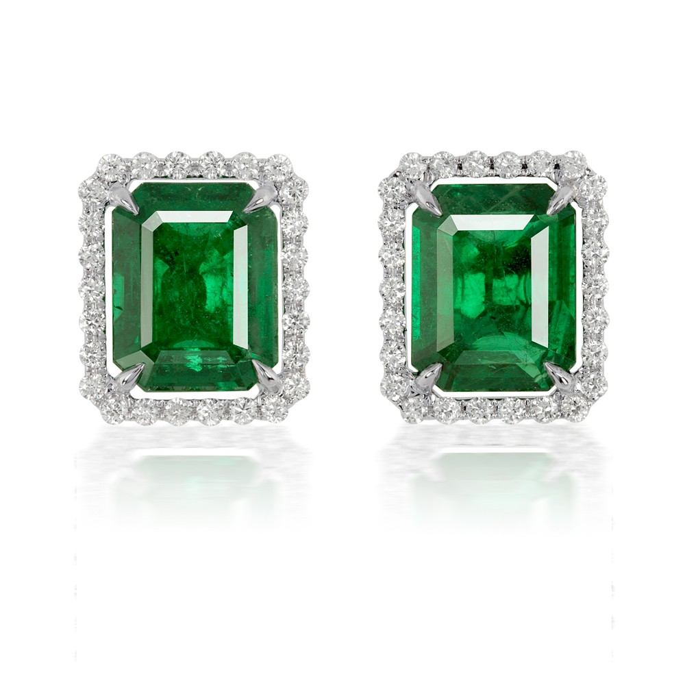 5.88 Diamond and Natural Emerald Stud Earrings