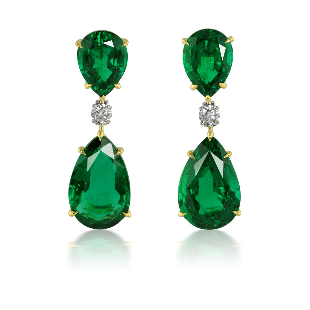 17.52 Pear Shaped Naural Emerald Earrings with Diamond Accents