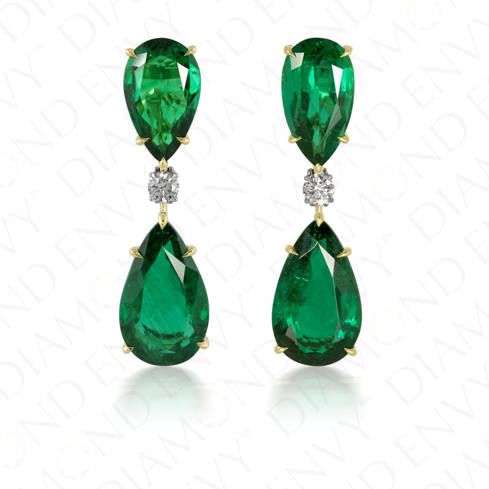 20.74 Carat Natural Emerald and Diamond Earrings in 18K Yellow Gold and Platinum