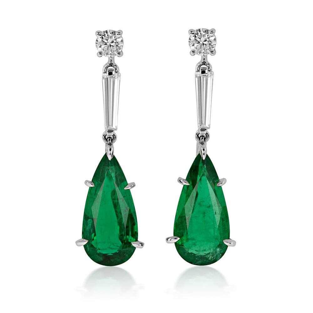 7.45ct Sophisticated Diamond and Natural Emerald Earrings