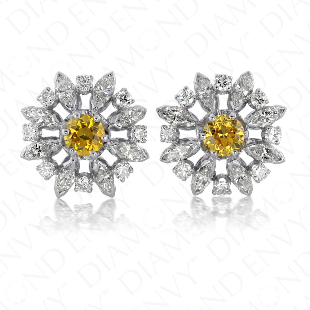 4.63 Carat Fancy Vivid Orangy Yellow Diamond Earrings in 18K White Gold