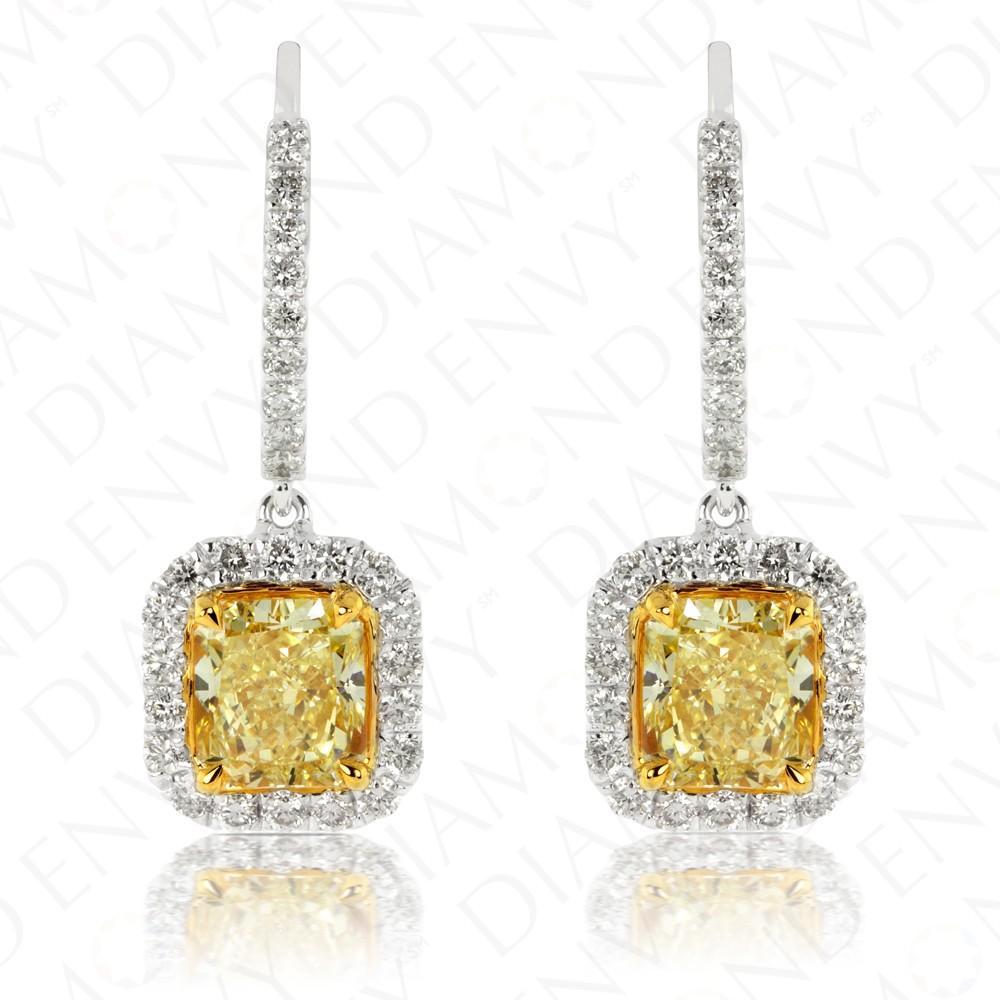 two fancy de diamond tone gold canary carat in intense yellow earrings