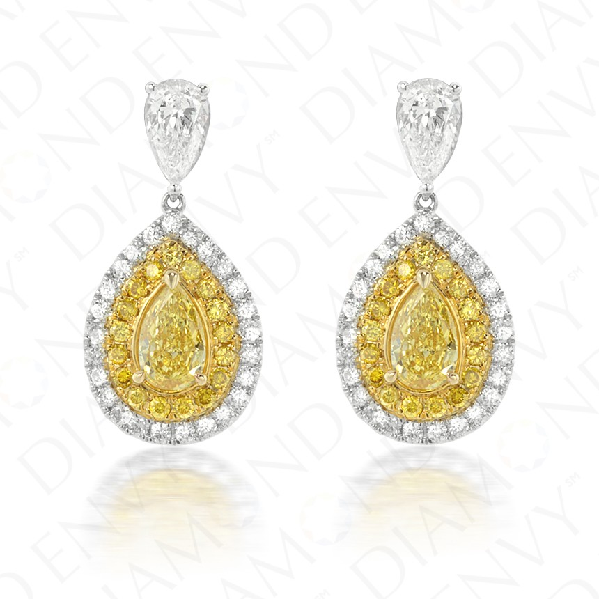 2.12 Carat Fancy Intense Yellow Diamond Earrings in 18K Two-Tone Gold