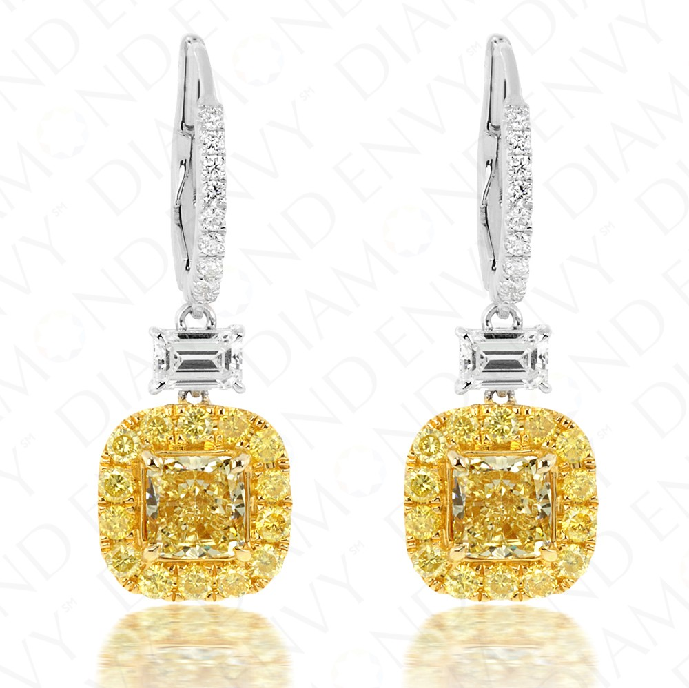3.08 Carat Fancy Intense Yellow Diamond Earrings in 18K Two-Tone Gold