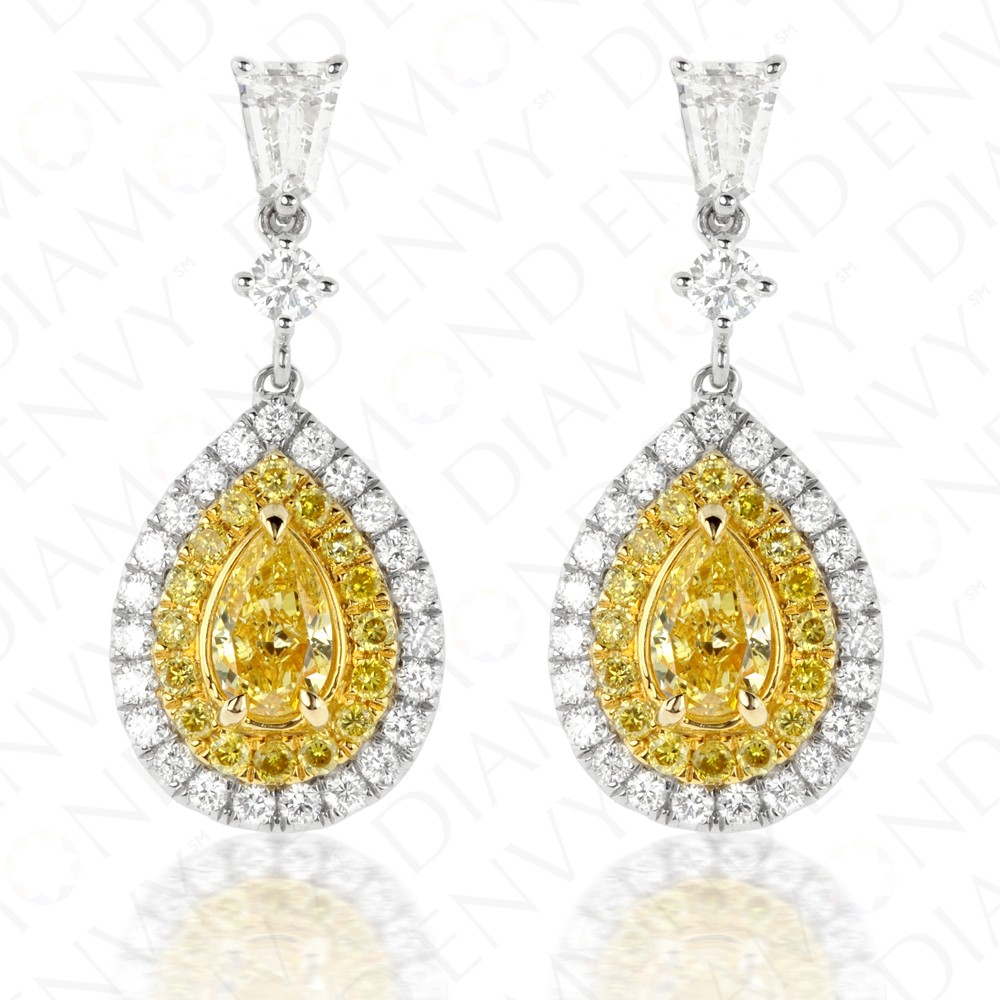 1.86 Carat Fancy Yellow Diamond Earrings in 18K Two-Tone Gold