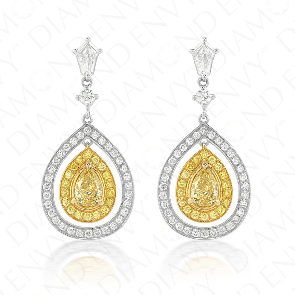 1.42 Carat Fancy Yellow Diamond Earrings in 18K Two-Tone Gold