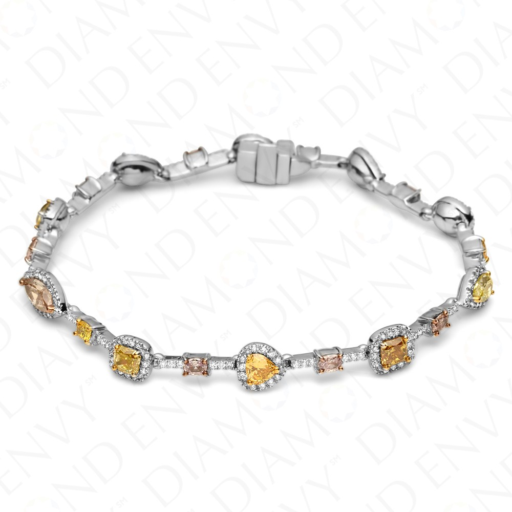 5.83 Carat Fancy Multi-Colored Diamond Bracelet in 18K White Gold