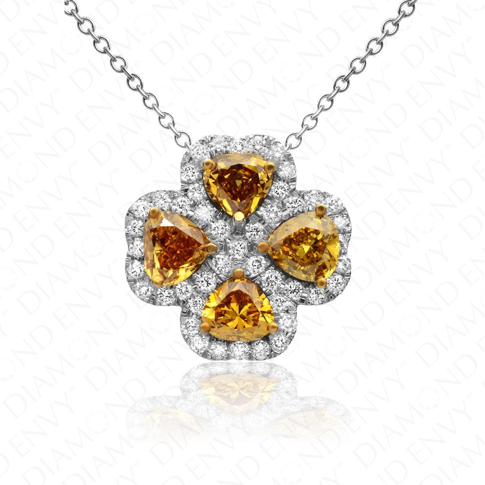 2.01 Carat Fancy Colored Diamond Pendant in 18K White Gold