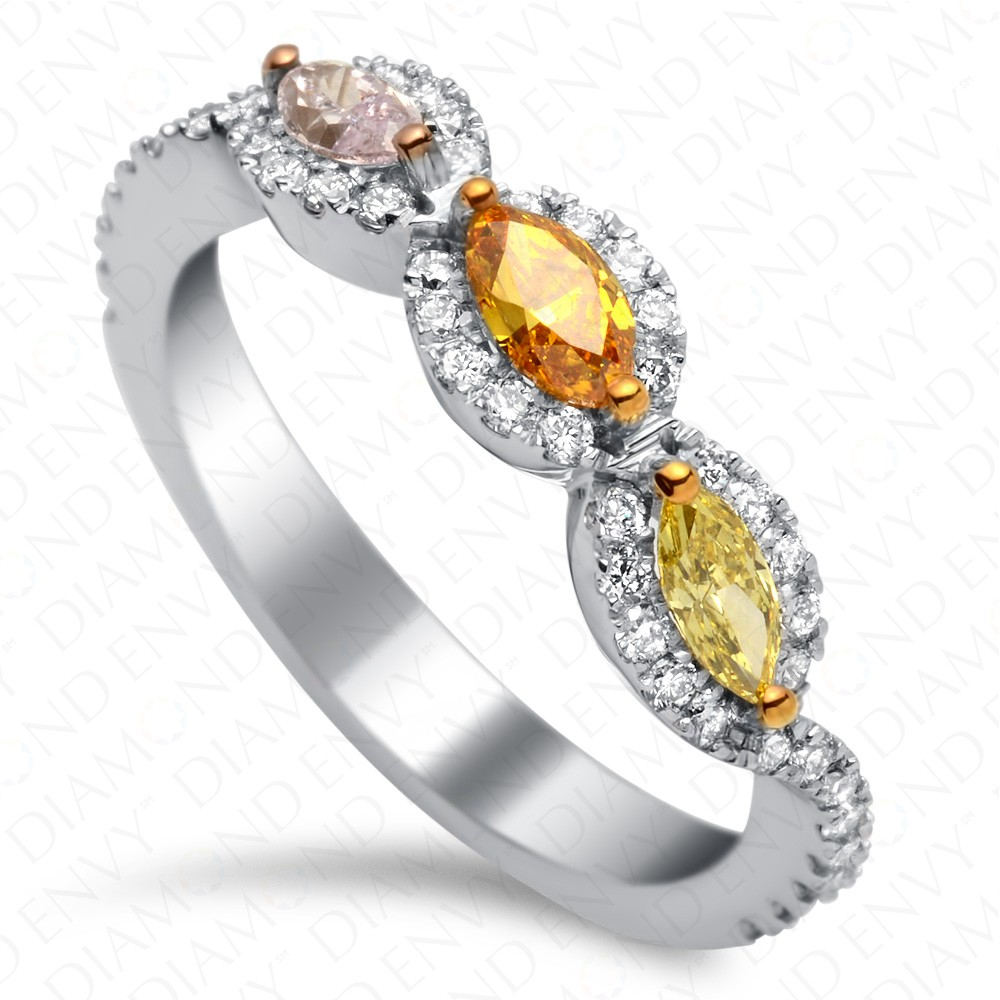 0.50 Carat Fancy Multi-Colored Diamond Ring in 18K White Gold