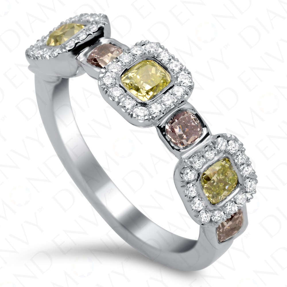 1.57 Carat Fancy Multi-Colored Diamond Ring in 18K White Gold