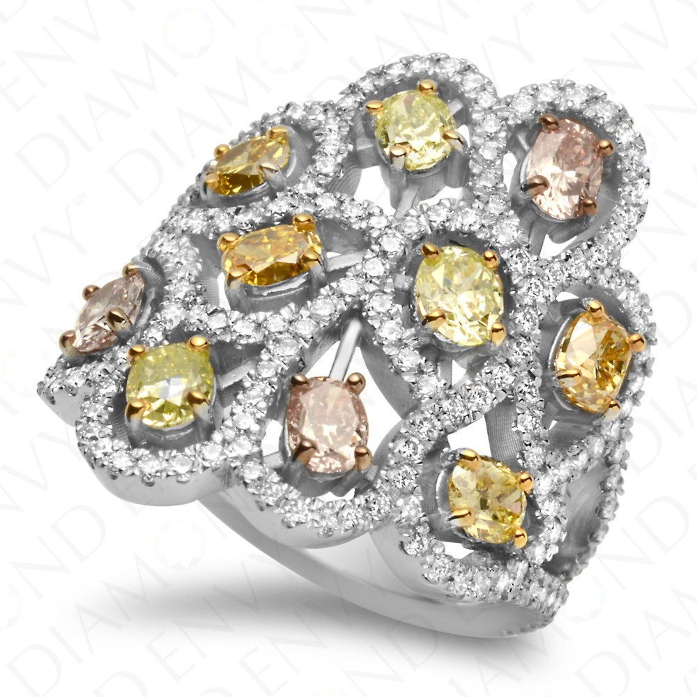 3.19 Carat Fancy Multi-Colored Diamond Ring in 18K White Gold