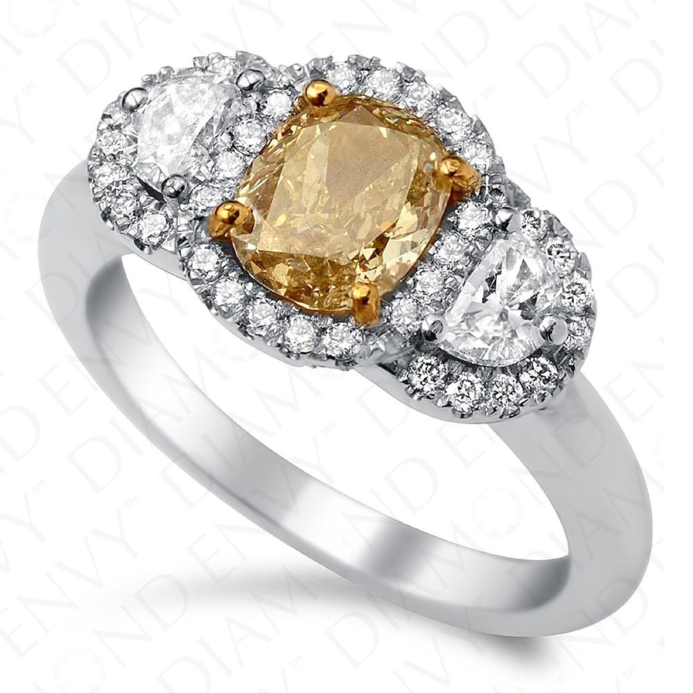 1.67 Carat Fancy Intense Brownish Yellow Diamond Ring in 18K White Gold
