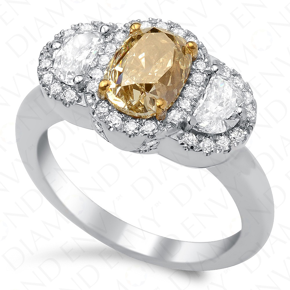 2.30 Carat Fancy Brownish Yellow Diamond Ring in 18K White Gold