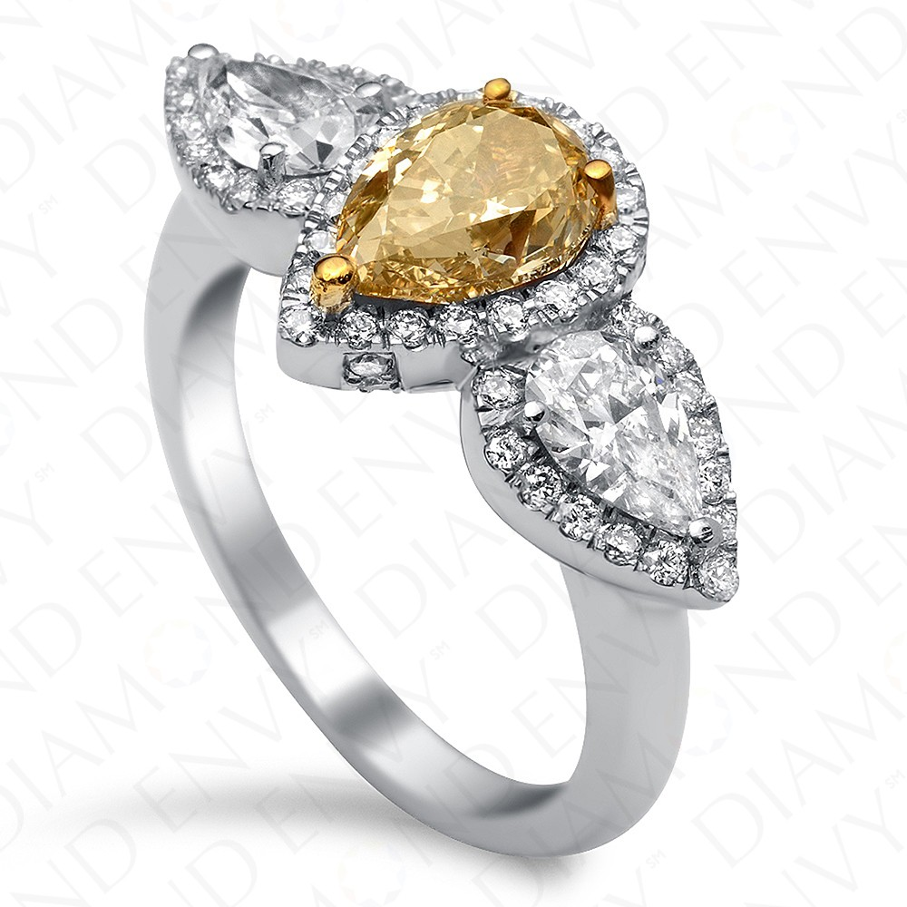 2.30 Carat Fancy Brown Yellow Diamond Ring in 18K White Gold