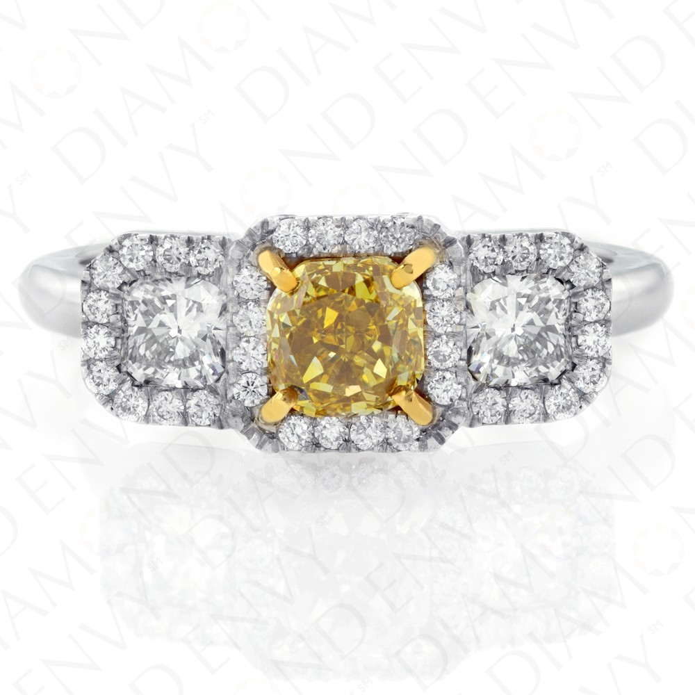 fancy brownish ring yellow certified carat diamond cushion ct shape tw clarity gia