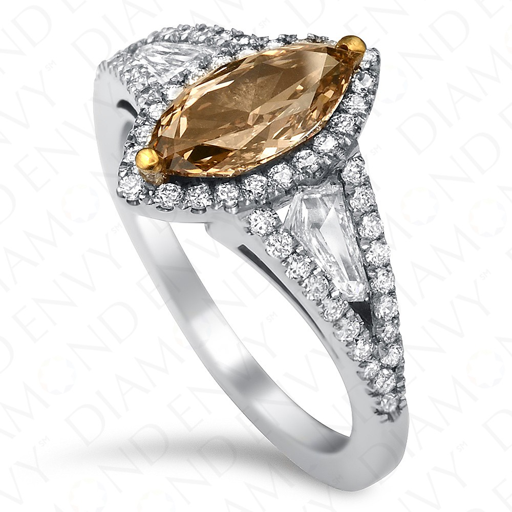 in engagement diamond ring white carat marquise chocolate fancy fin rings gold yellowish brown