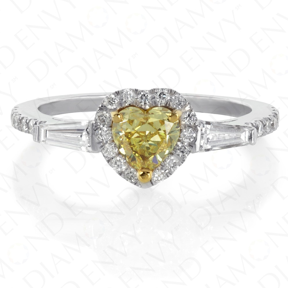 1.00 Carat Fancy Intense Yellow Diamond Ring in 18K White Gold