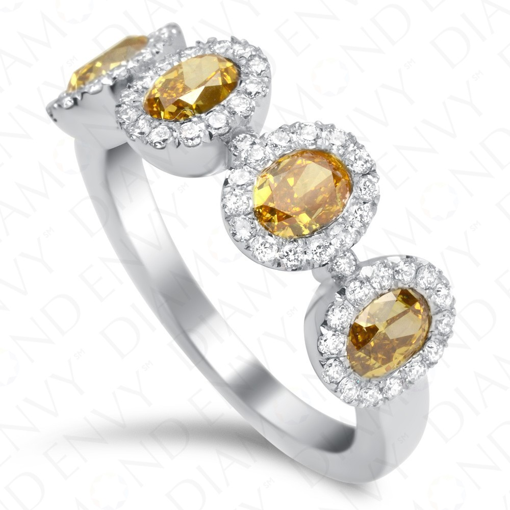 1.89 Carat Four Stone Fancy Deep Yellow Diamond Ring in 18K White Gold