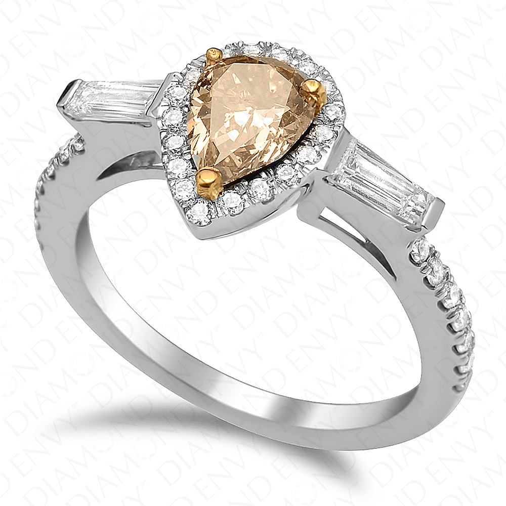 0.79 Carat Fancy Brownish Yellow Pear Shape Diamond Ring in 18K White Gold