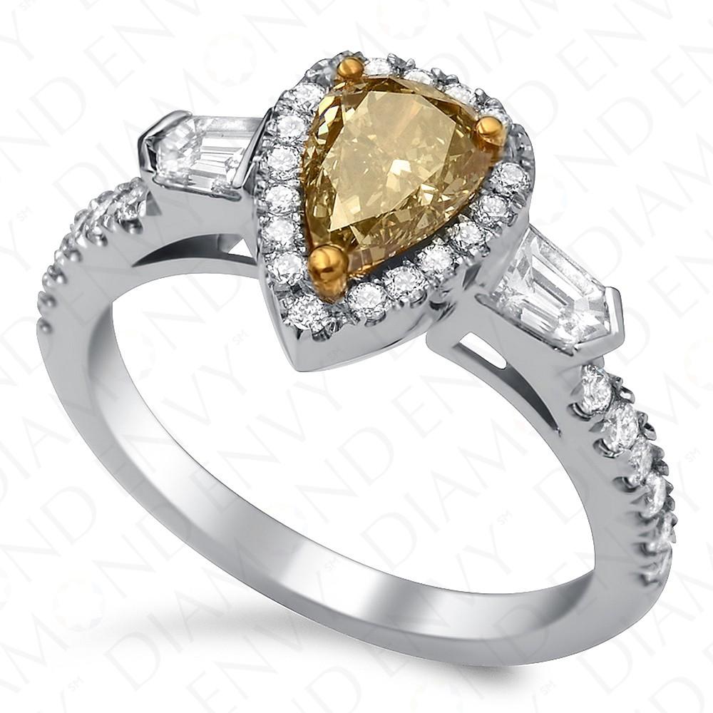 1.68 Carat Fancy Brownish Yellow Diamond Ring in 18K White Gold