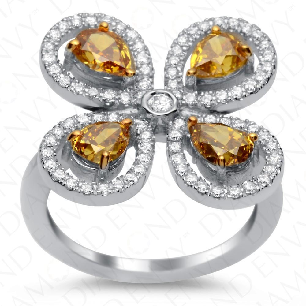 2.44 Carat Fancy Colored Diamond Ring in 18K White Gold