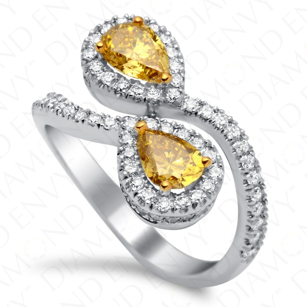 1.92 Carat Fancy Deep Yellow Diamond Ring in 18K White Gold
