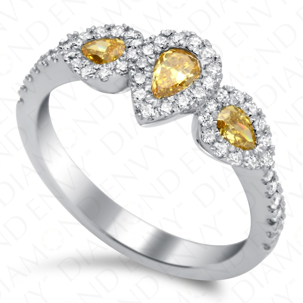 0.90 Carat Fancy Vivid Yellow Diamond Ring in 18K White Gold