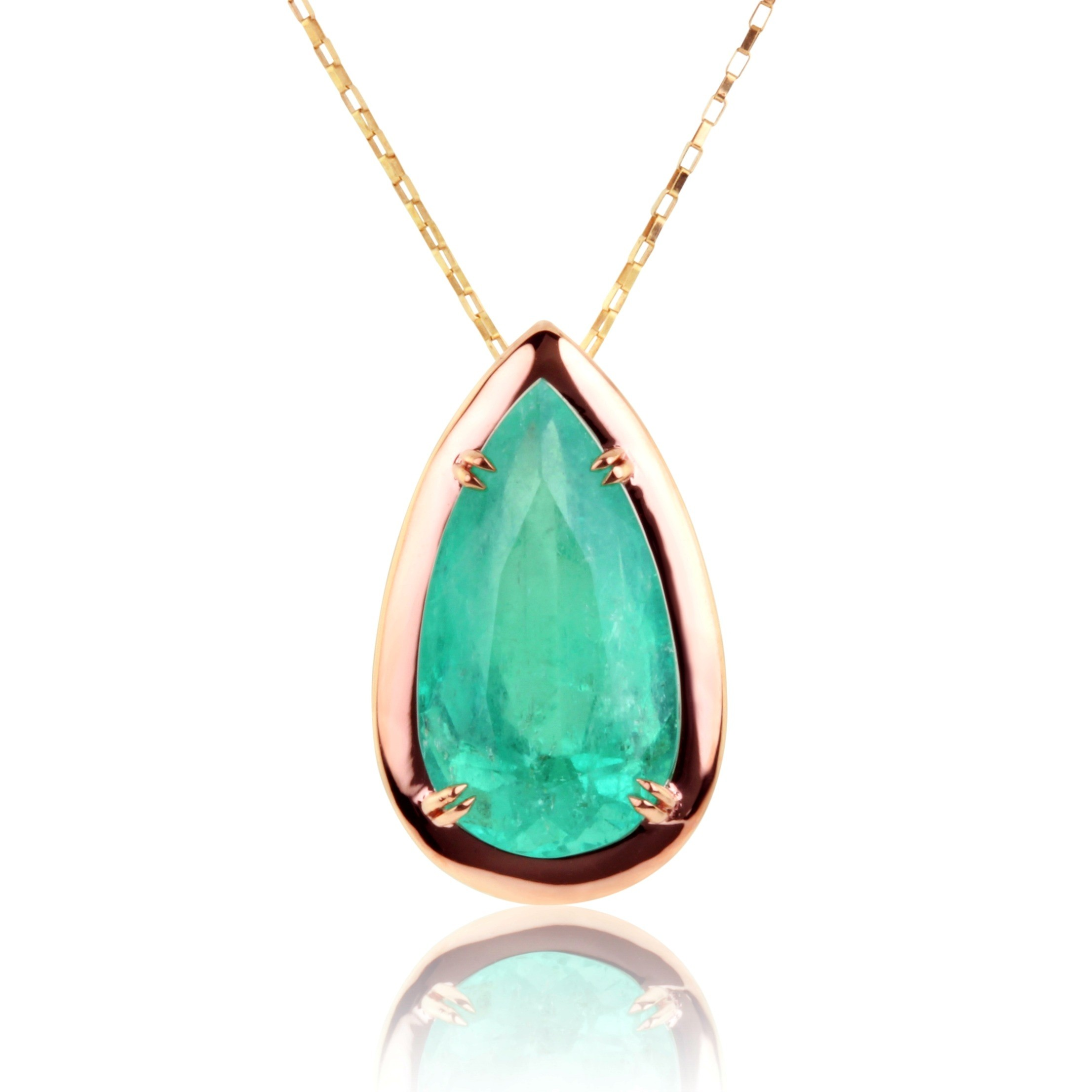 emerald full solitaire halo diamond item natural p gold pendant