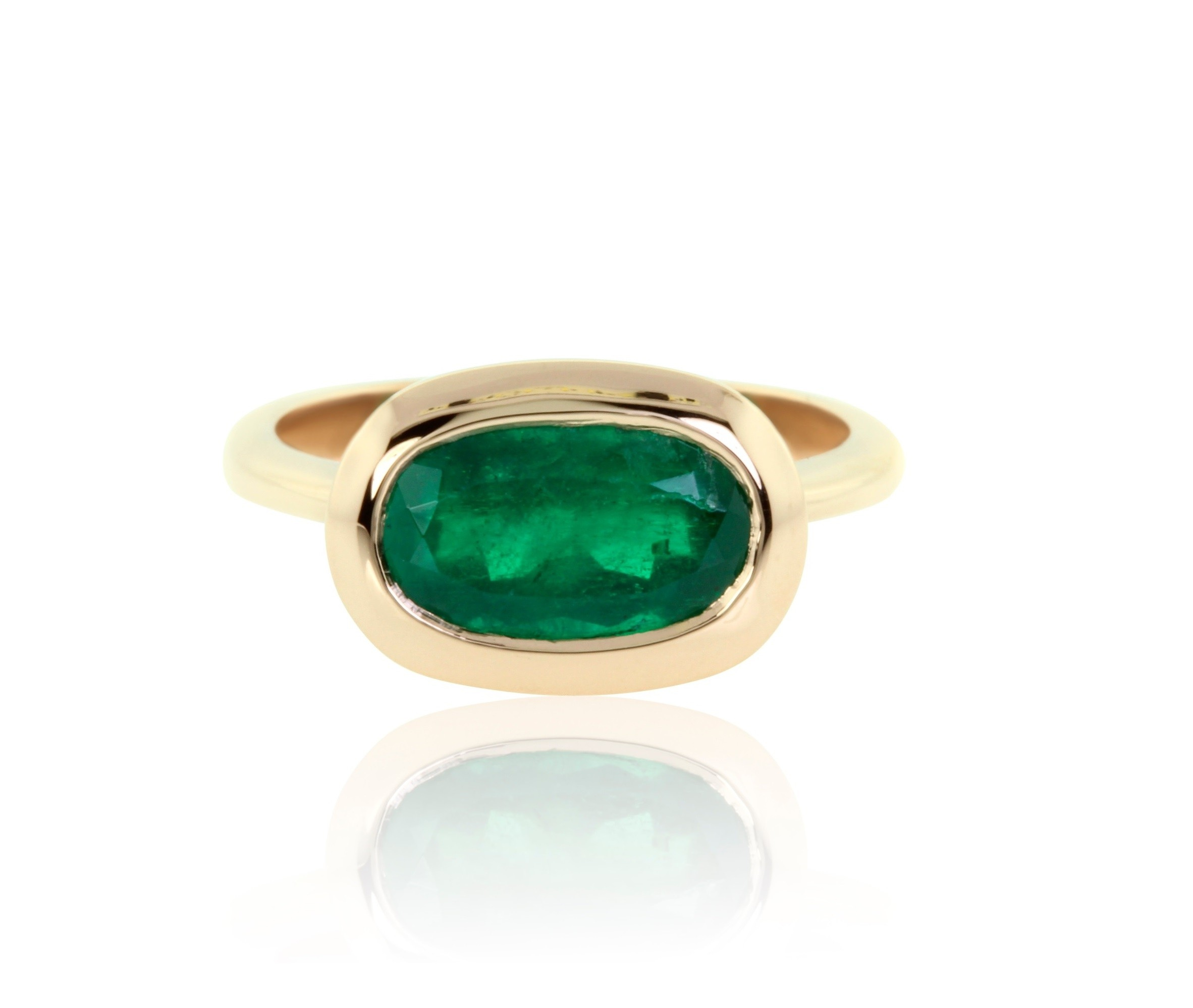 2.19 Carat Natural Colombian Emerald Ring in 18K Pink Gold