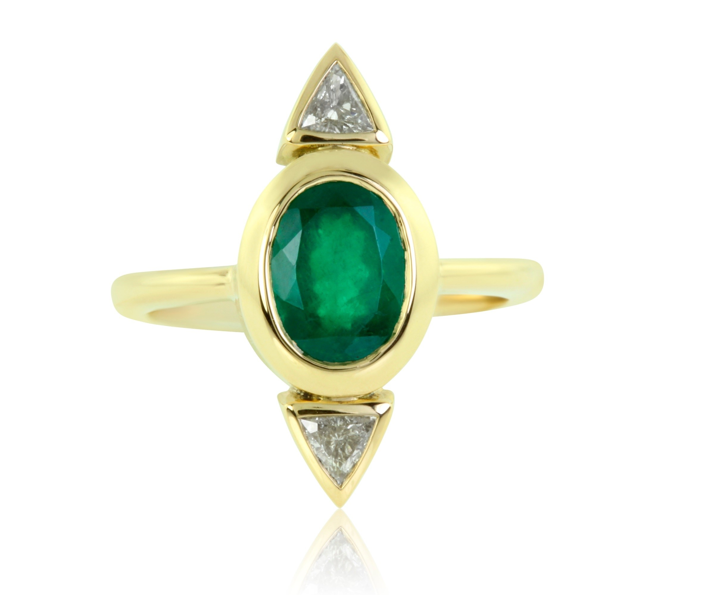 1.61 Carat Diamond and Oval Cut Natural Emerald Ring