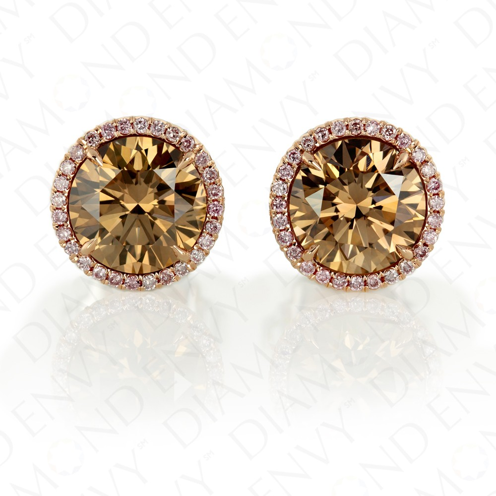 3 96 Carat Fancy Yellow Brown Yellowish Diamond Earrings In 18k Two Tone Gold