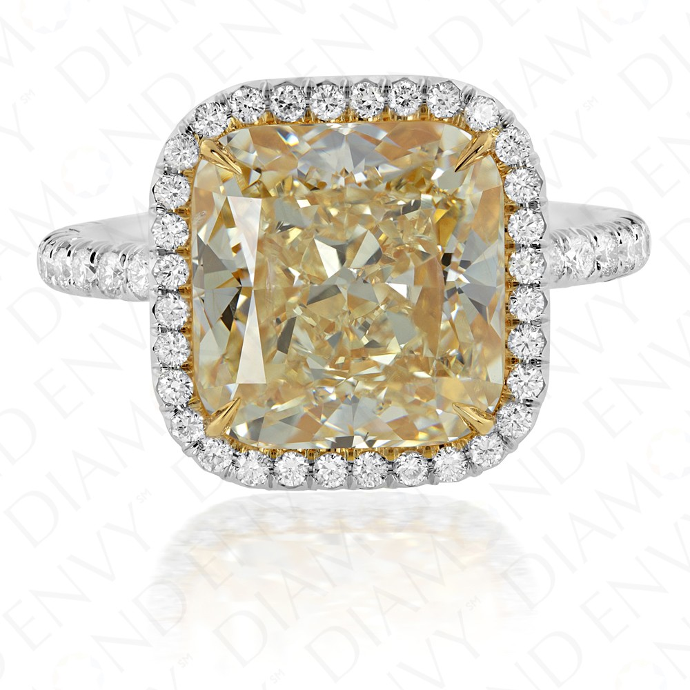 6.57 Carat Yellow Diamond Ring in Platinum and 18K Gold