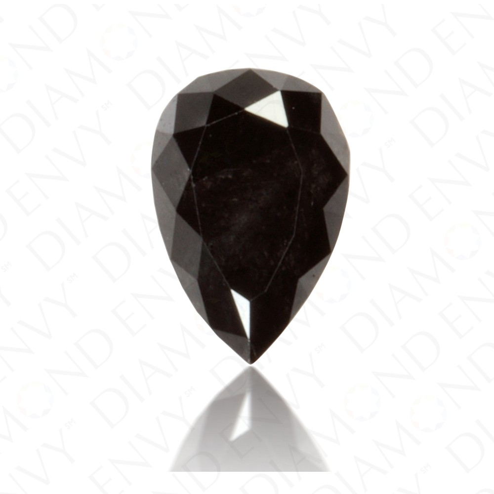 1.09 Carat Pear Shape Natural Fancy Black Diamond