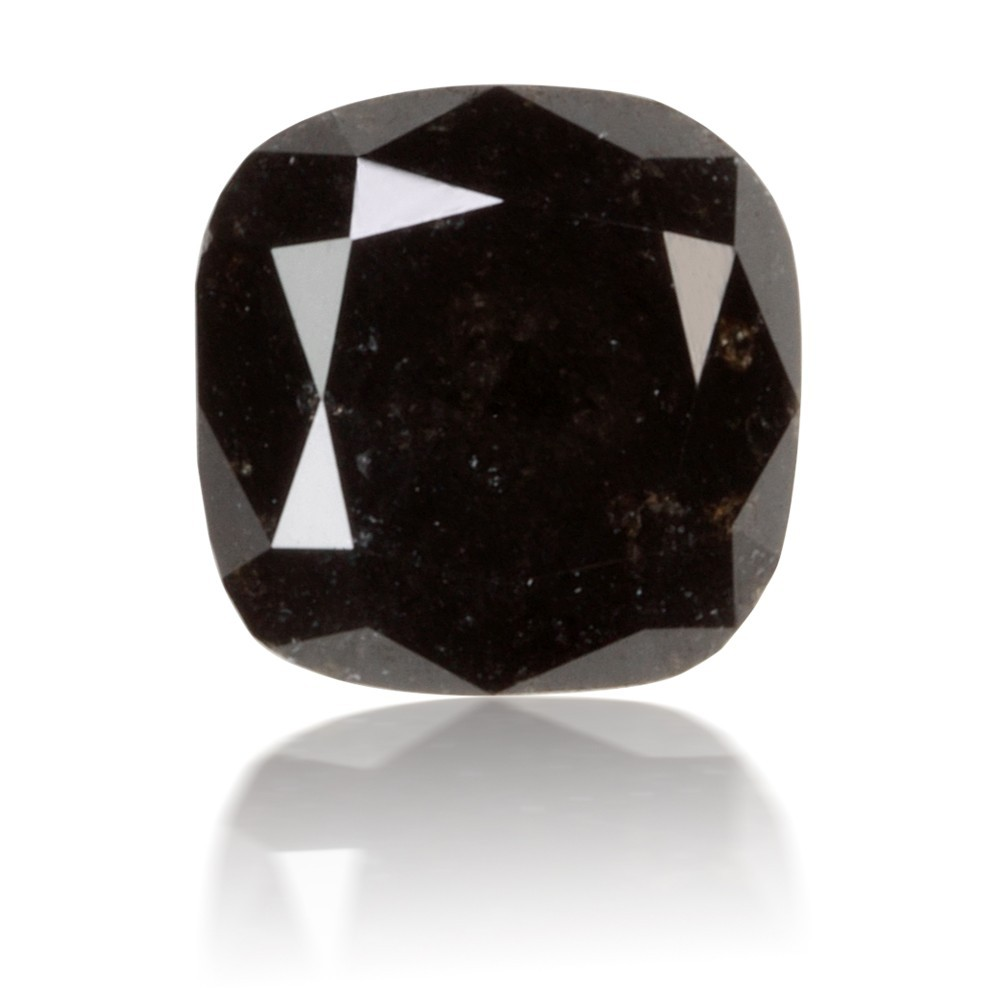 1.92 Carat Cushion Cut Natural Fancy Black Diamond