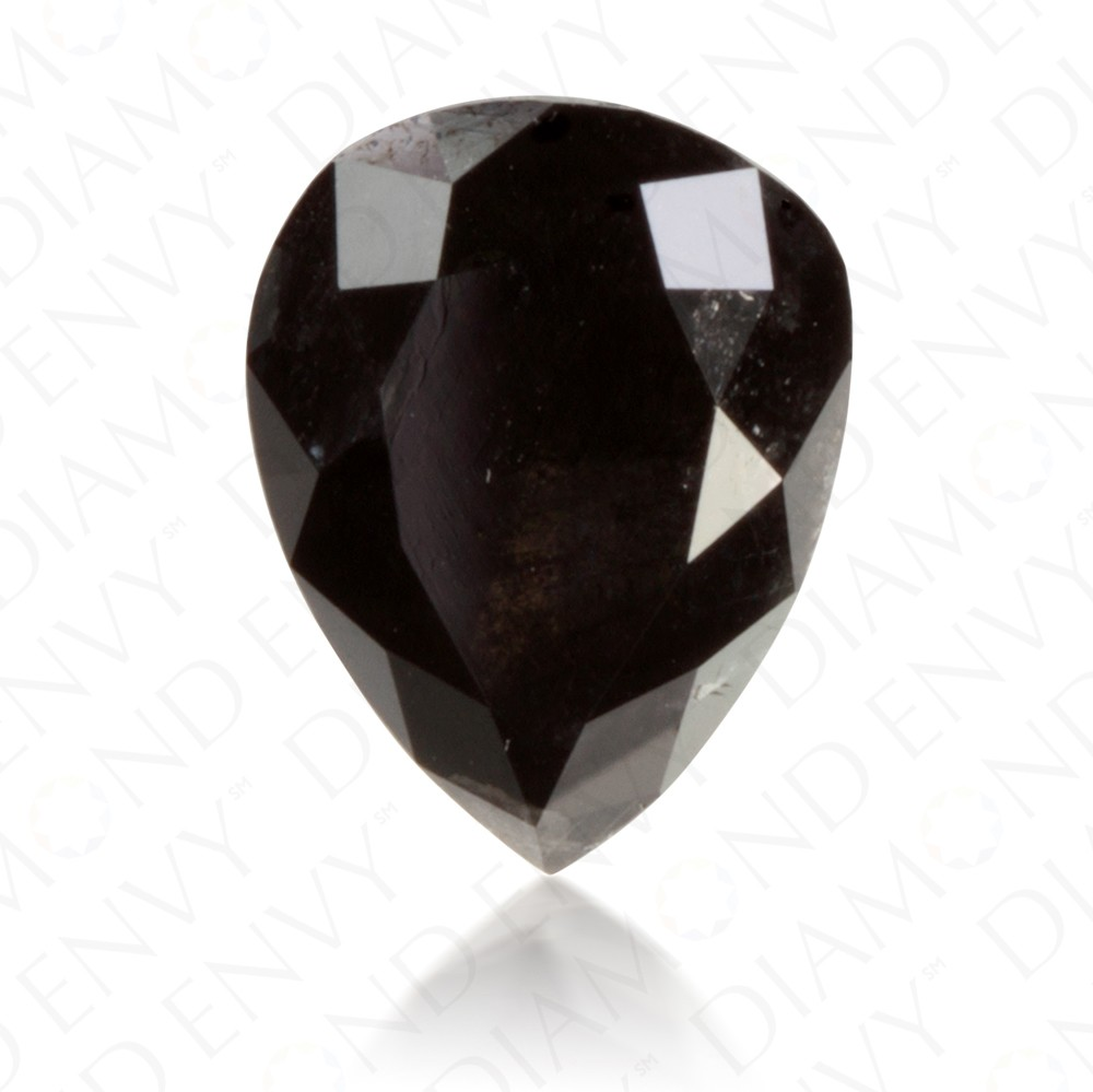 3.27 Carat Pear Shape Natural Fancy Black Diamond