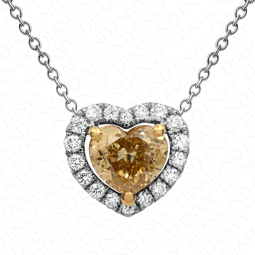1.25 Carat Fancy Deep Brownish Yellow Diamond Pendant with Chain in 18K White Gold