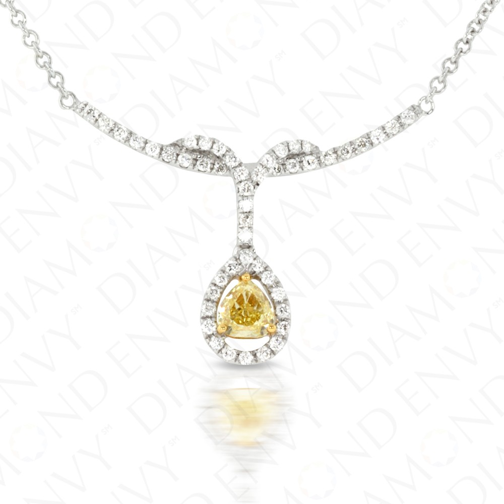 0.86 Carat Fancy Yellow Diamond Necklace in 18K Two-Tone Gold