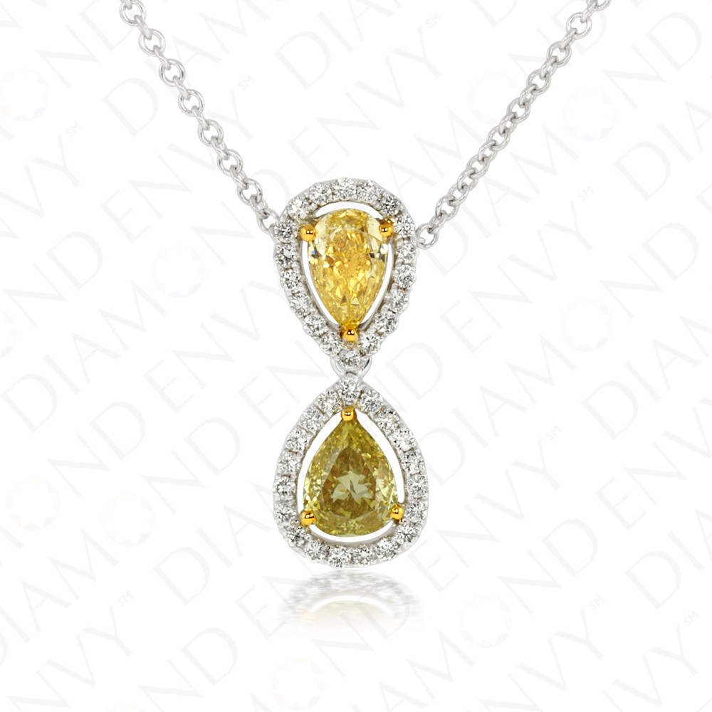 1.18 Carat Fancy Intense Yellow Diamond Pendant in 18K Two-Tone Gold