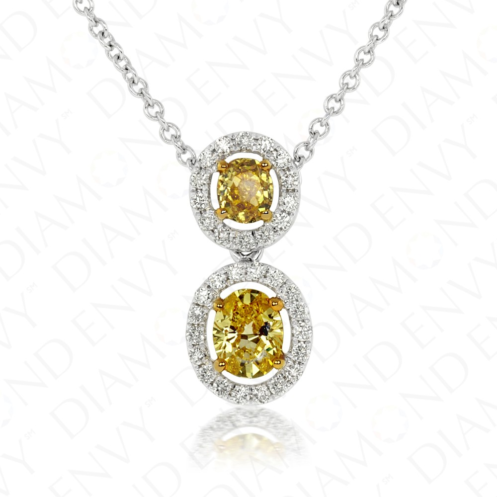 0.79 Carat Fancy Intense Orangy Yellow Diamond Necklace in 18K Two-Tone Gold