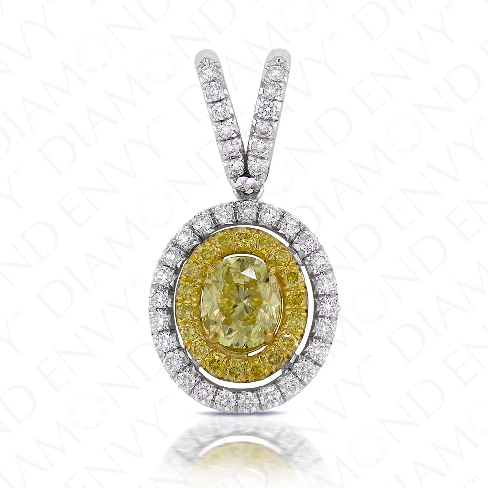 1.23 Carat Fancy Yellow Diamond Pendant in 18K Two-Tone Gold