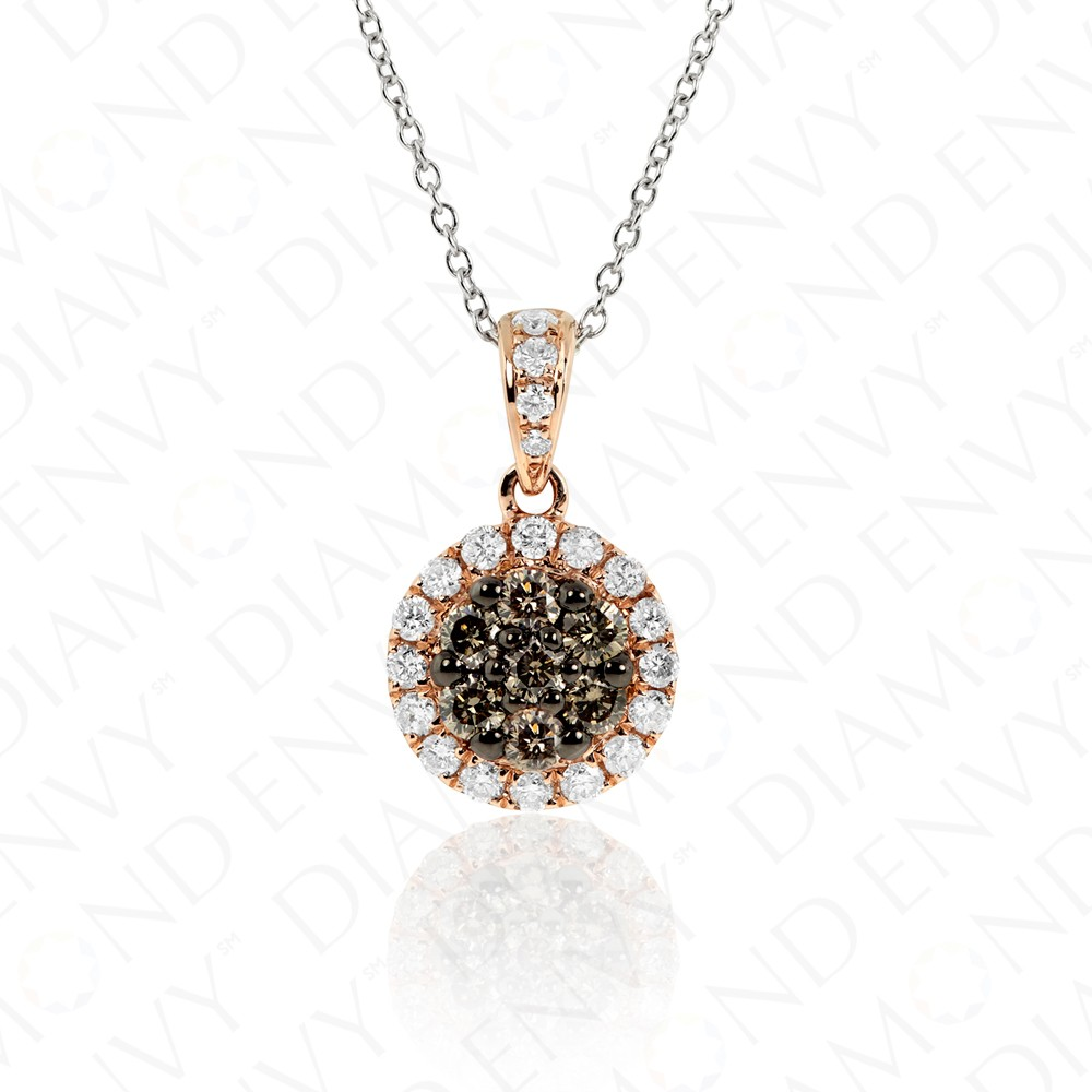 0.69 Carat Brown Diamond Pendant in 14K Rose Gold