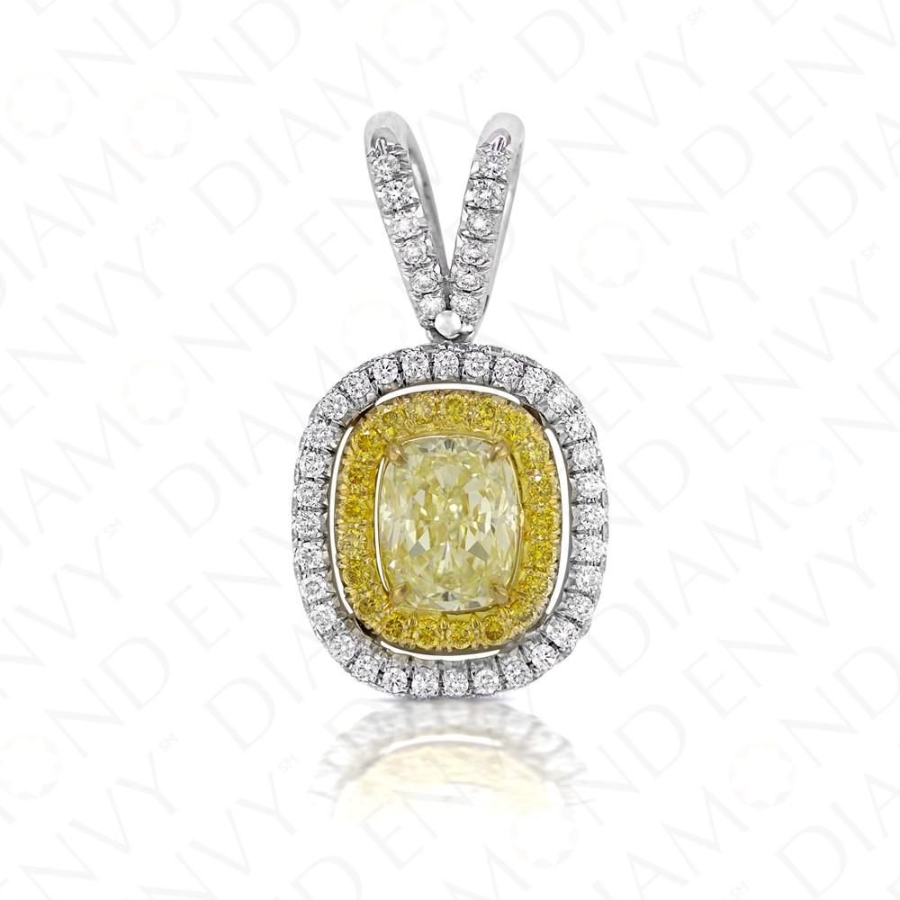 1.97 Carat Fancy Light Yellow Diamond Pendant in 18K Two-Tone Gold