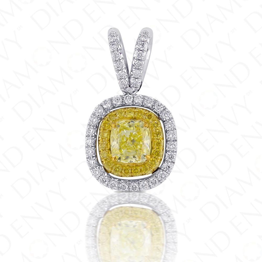 1.54 Carat Fancy Light Yellow Diamond Pendant in 18K Two-Tone Gold