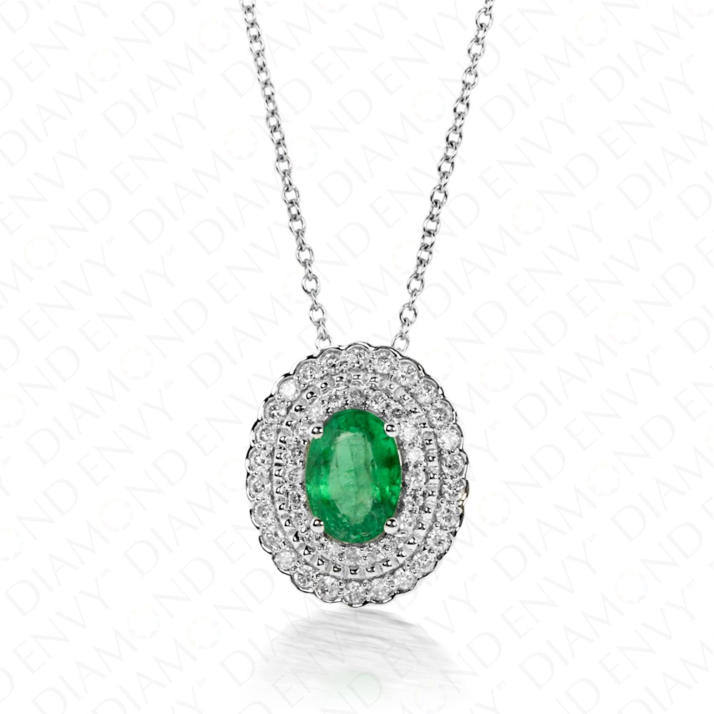 1.00 Carat Natural Emerald and Diamond Pendant in 14K White Gold
