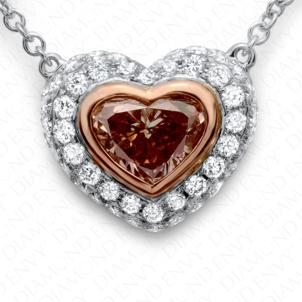 1.31 Carat Fancy Dark Brown Diamond Pendant with Chain in 18K Two-Tone Gold