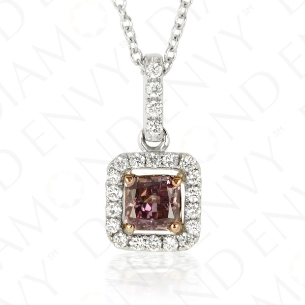 0.43 Carat Fancy Dark Brown Purple Diamond Pendant in 18K Two-Tone Gold