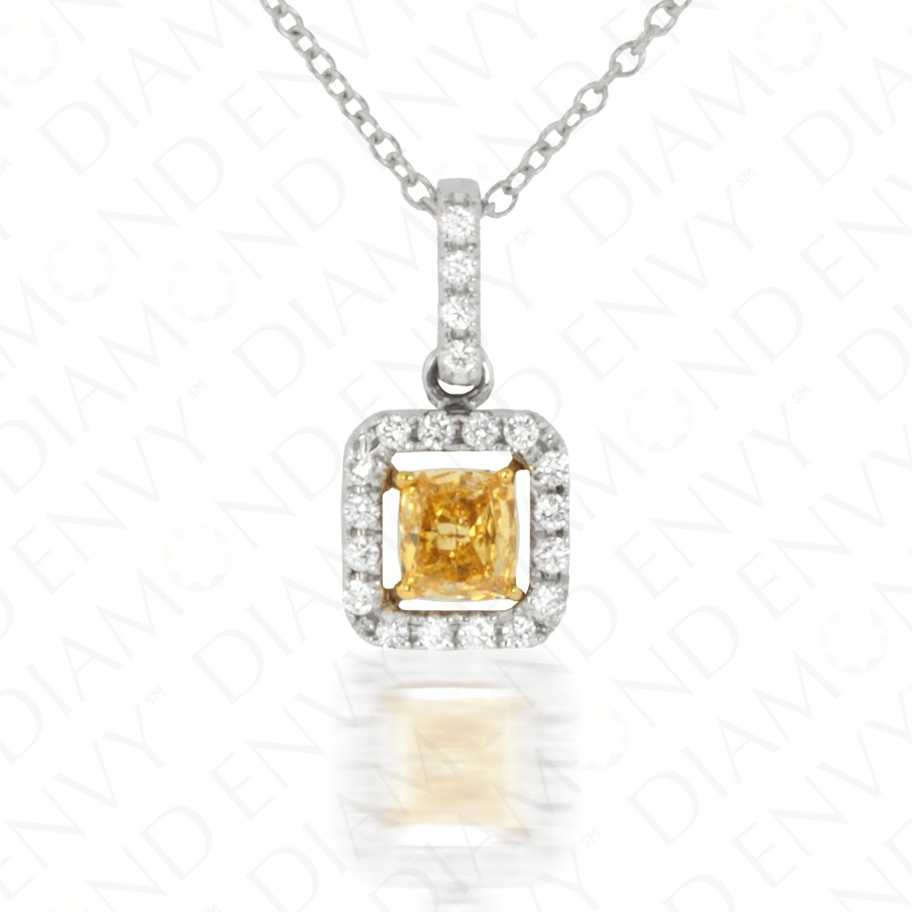 Yellow Diamond Pendant with Floating Halo