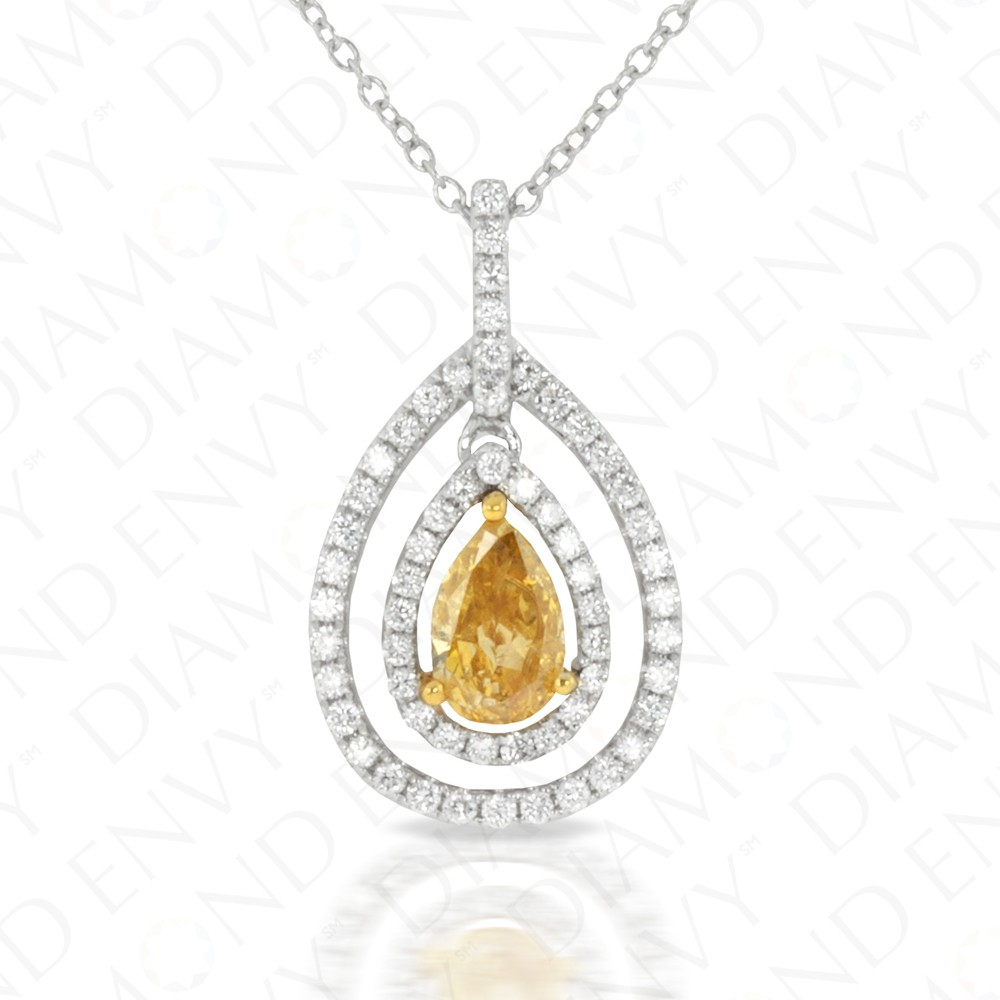 0.78 Carat Fancy Deep Brownish Orangy Yellow Diamond Pendant in 18K Two-Tone Gold